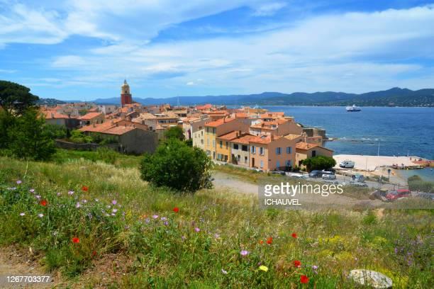 view of st tropez france - internationaal monument stockfoto's en -beelden