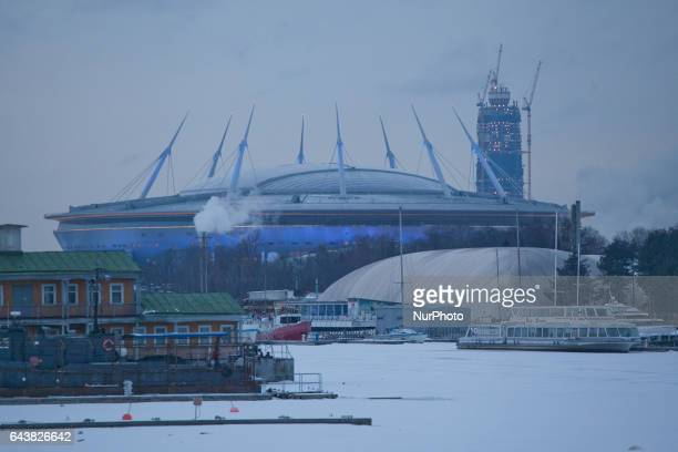 View of stadium Krestovsky and tower Lahta Center The stadium was under construction to the FIFA World Cup of 2018 The skyscraper Lahta center will...