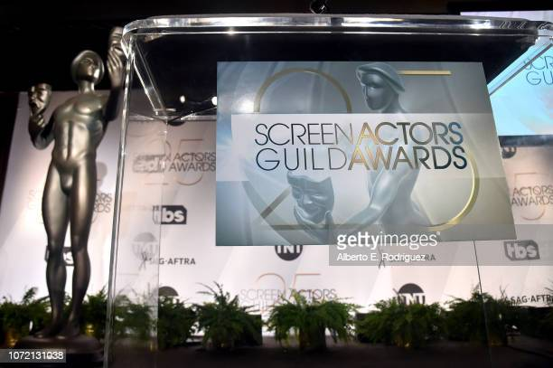 A view of stage during the 25th Annual Screen Actors Guild Awards Nominations Announcement at Pacific Design Center on December 12 2018 in West...
