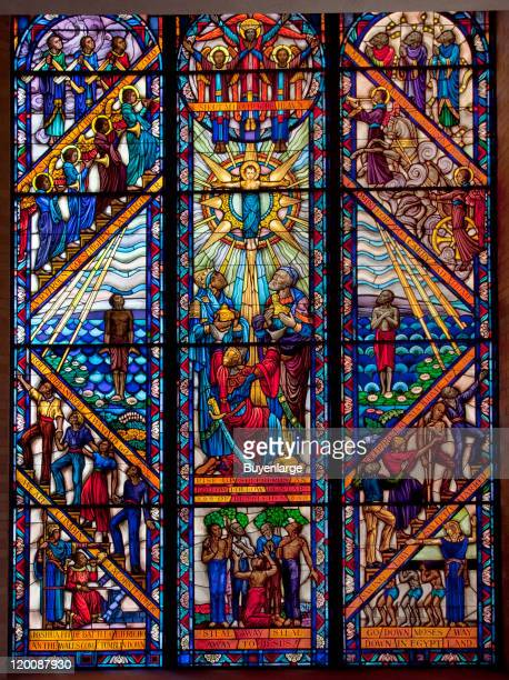 View of stained-glass windows in the chapel at Tuskegee University, Tuskegee, Alabama, 2010.