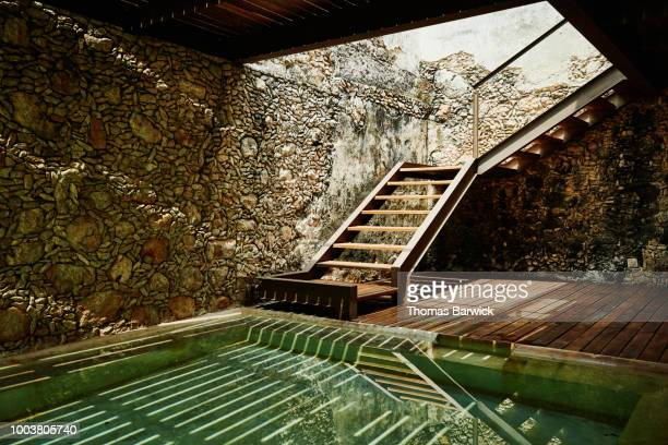 View of stairs and plunge pool at luxury spa