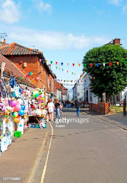 View of Staithe Street in summer in the North Norfolk coastal town of Wells-next-the-Sea, Norfolk, England, United Kingdom.
