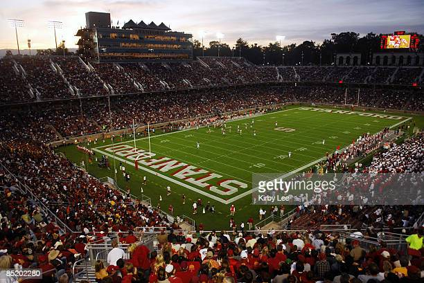 View of Stanford Stadium during Pacific-10 Conference football game between USC and Stanford at Stanford Stadium in Stanford, California on Saturday,...