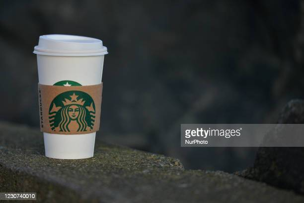 View of Starbucks cup of coffee, in Dublin during Level 5 Covid-19 lockdown. On Friday, 22 January in Dublin, Ireland.