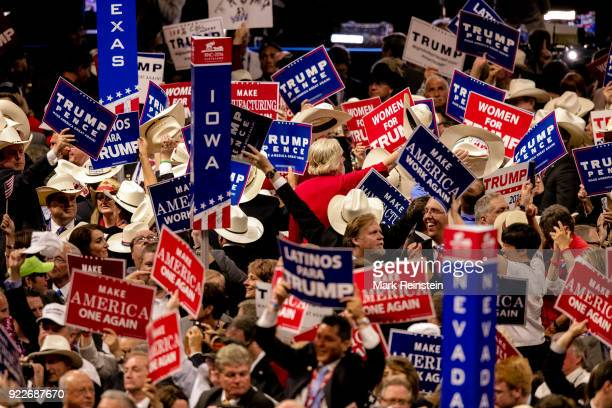 View of state delegates many with signs on the floor at the Republican National Convention in the Quicken Loans Arena Cleveland Ohio July 21 2016 The...