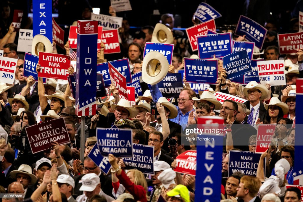 View of state delegates, many with signs, on the floor at the Republican National Convention in the Quicken Loans Arena, Cleveland, Ohio, July 21, 2016. The visible signs express support of candidates Donald Trump and Mike Pence.