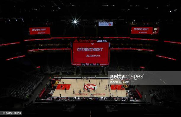 View of State Farm Arena on opening night during warmups prior to the game between the Atlanta Hawks and the Detroit Pistons on December 28, 2020 in...
