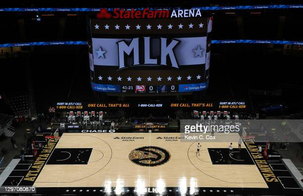 View of State Farm Arena prior to the game between the Atlanta Hawks and the Minnesota Timberwolves on January 18, 2021 in Atlanta, Georgia. NOTE TO...
