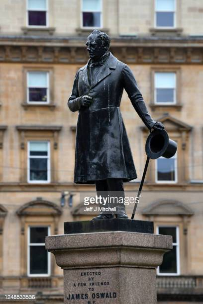 A view of statue of James Oswald who inherited a fortune from his great uncle Richard Oswald of Auchincruive a prominent Glasgow slave owner the...