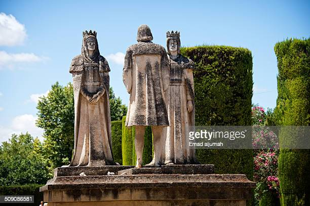 View of Statues at the Gardens of Alcázar of Córdoba Spain.