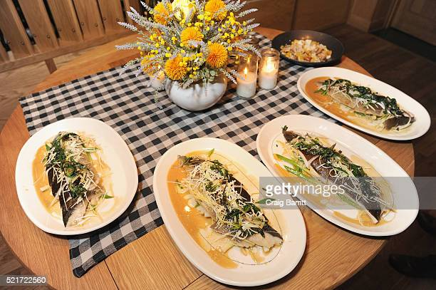 View of steamed black cod french condiments and a la chinoise dish at The 8th Annual New York Culinary Experience Private Dinner Hosted By New York...