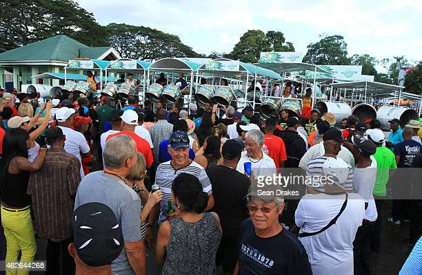 View of steel pan orchestra rehearsal during National Panorama Semi-Finals in the Queens Park Savannah as part of Trinidad and Tobago Carnival on...