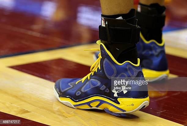 View of Stephen Curry of the Golden State Warriors' sneakers during the game against the Cleveland Cavaliers at Quicken Loans Arena on December 29,...