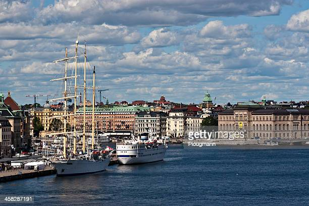view of stockholm city and waterfront - stockholm stock pictures, royalty-free photos & images