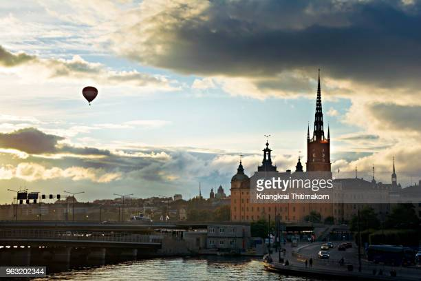 View of Stockholm city during sunset.