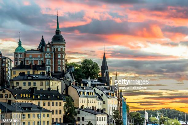 view of stockholm cityscape during sunset, sweden. - stockholm stock pictures, royalty-free photos & images