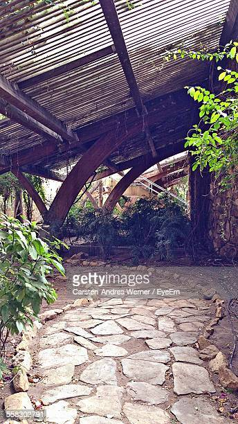View Of Stone Footpath Under Roof