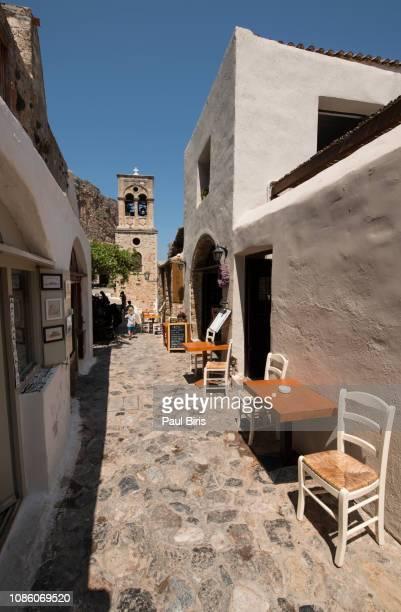 view of stone houses at monemvasia medieval fortress, peloponnese, greece - monemvasia - fotografias e filmes do acervo