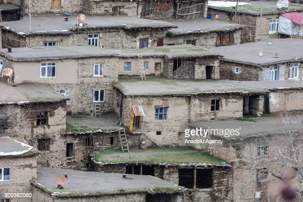 A view of stone houses of a village at Hizan district in the southeastern province of Bitlis Turkey on February 18 2018 Most of the villages at Hizan...