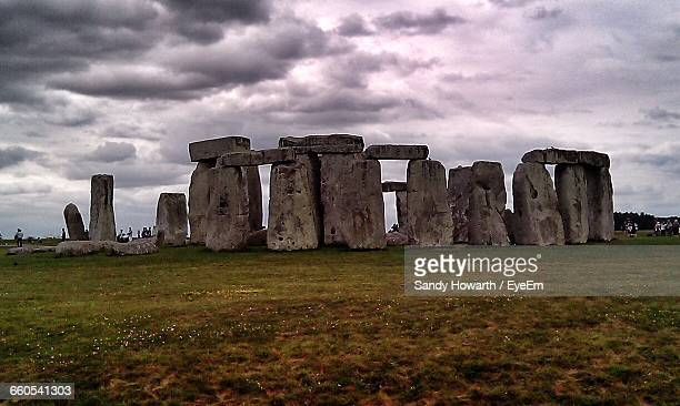 View Of Stonehenge Under Cloudy Sky