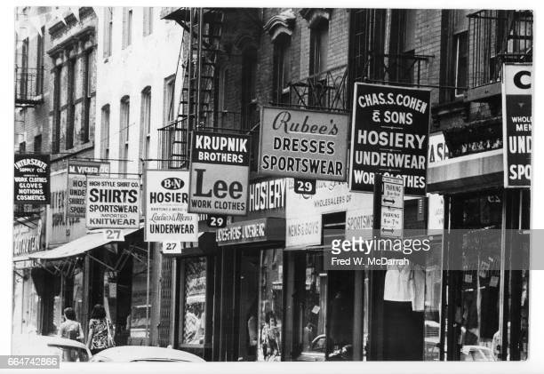 View of store fronts along Orchard Street New York New York February 24 1974