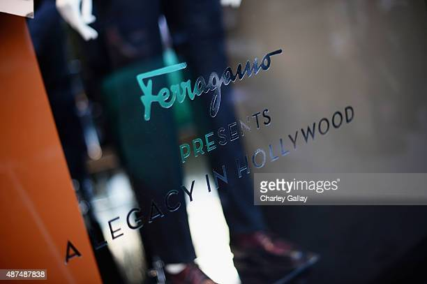 A view of store signage as Ferragamo Celebrates 100 Years in Hollywood at the newly unveiled Ferragamo boutique on September 9 2015 in Beverly Hills...