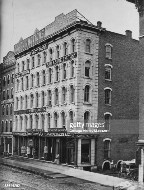 View of storefronts at 4046 Randolph Street Chicago Illinois late 1860s