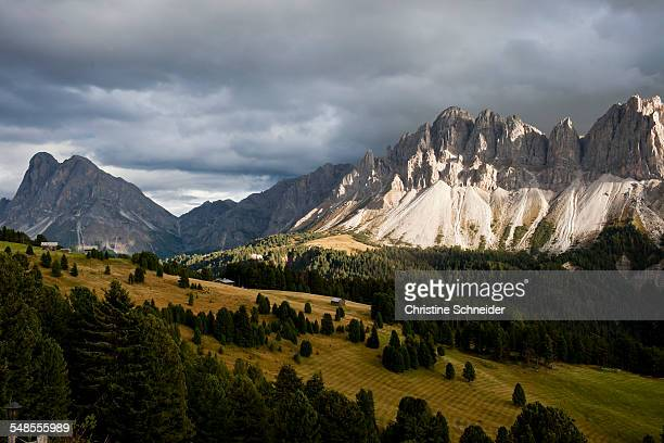View of storm clouds over mountains, Dolomites, Plose, South Tyrol, Italy