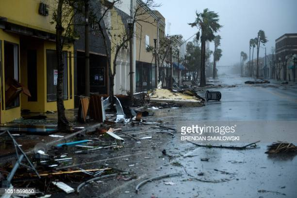 A view of storm damage during Hurricane Michael October 10 2018 in Panama City Florida Michael slammed into the Florida coast on October 10 as the...