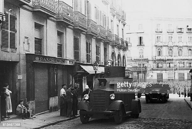 A view of storm guards arriving in armored vehicles on the Calle del Cerreo in Madrid temporary home of the Ministry of Government during the Spanish...