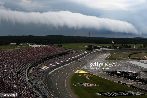 A view of storms rolling through the area prior to the NASCAR Cup Series GEICO 500at Talladega Superspeedway on June 21 2020 in Talladega Alabama