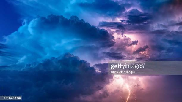 view of stormy sky with lighting - images stock pictures, royalty-free photos & images