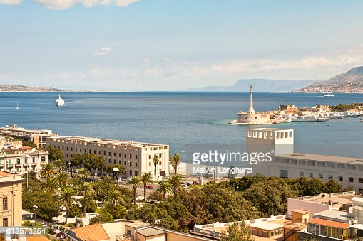View Of Straits Of Messina Messina Sicily Italy High-Res ...