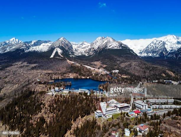 View of Strbske Pleso resort in High Tatras mountains, Slovakia