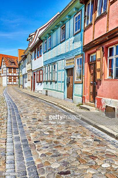 View of street and half-timbered houses