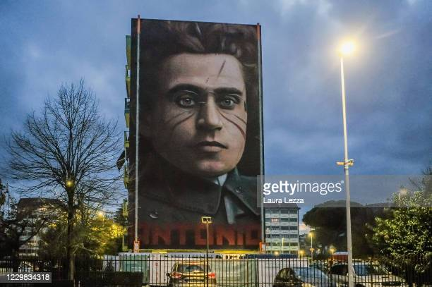 View of street artist Jorit's mural of philosopher and politician Antonio Gramsci that paid tribute to football player Diego Armando Maradona with a...