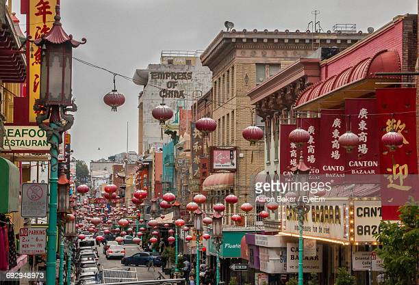 view of street in china town, san francisco - chinatown stock pictures, royalty-free photos & images