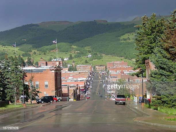 View of street in Cripple Creek in Colorado