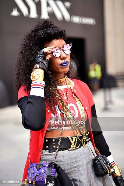 A view of street style seen around the September 2016 New York Fashion Week The Shows at Skylight at Moynihan Station on September 8 2016 in New York...