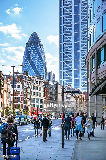 View of Street with pedestrians in London, UK