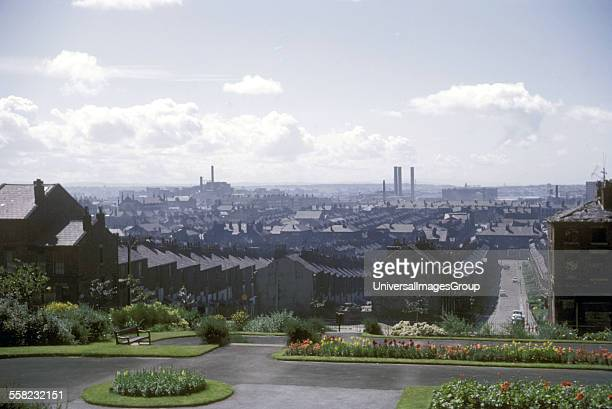 View of streets and the Liverpool skyline Liverpool UK July 1965