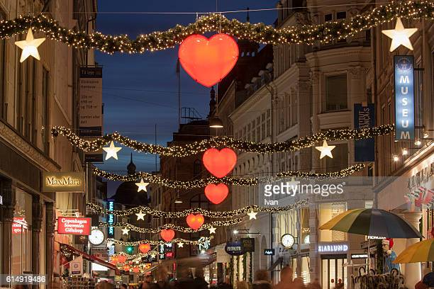View of Strøget street, the main shopping street in Copenhagen, during the Christmas period at Night