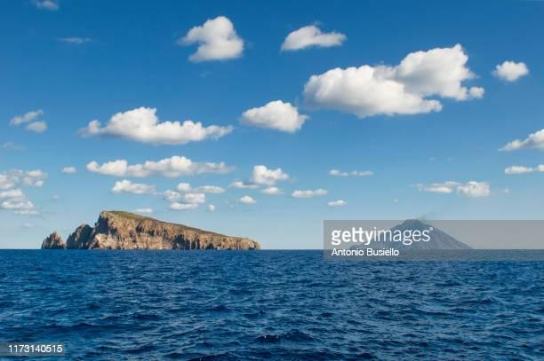 view of stromboli volcano form the sea - äolische inseln stock-fotos und bilder