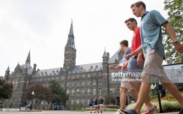 View of students around the iconic Healy Hall at Georgetown University as the school announces reparations it will make for the school's slavery...