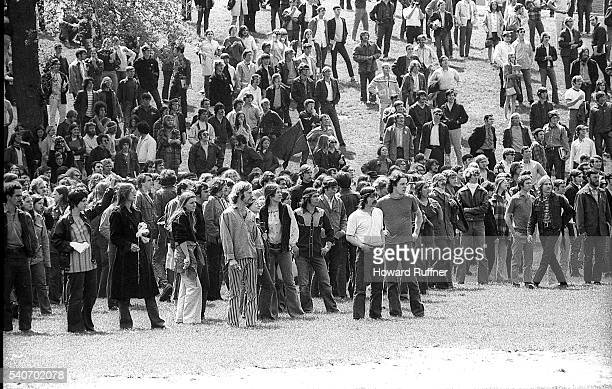 View of students at the base of Blanket Hill during an antiwar demonstration at Kent State University Kent Ohio May 4 1970 Shortly after this shot...
