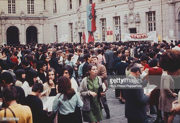View of students of the Sorbonne University of Paris standing in the courtyard of the main campus during a protest occupation against lack of...