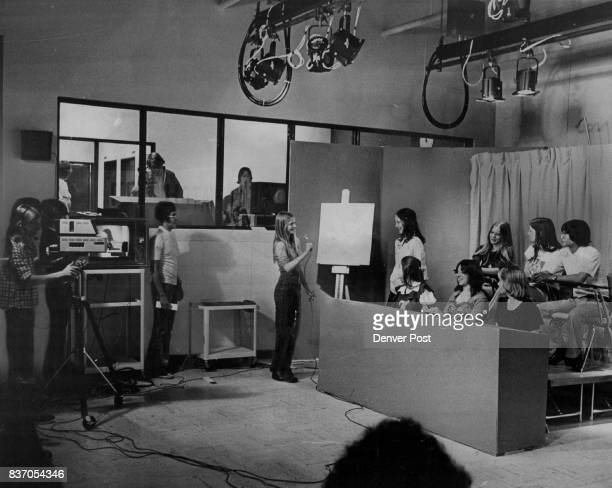 View of studio quiz show with control room in background Credit Denver Post