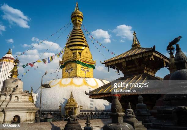 View of stupa in Swayambhunath monastery, Kathmandu, Nepal