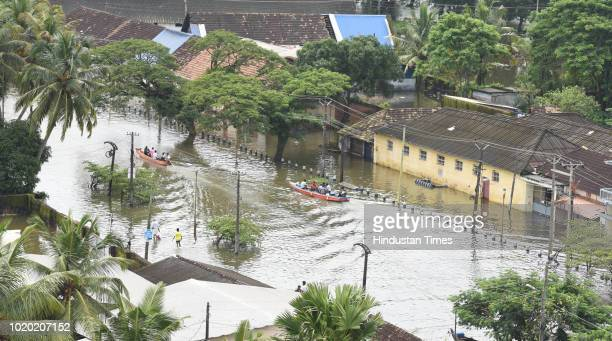 A view of submerged houses because of flood on August 20 2018 in Alappuzha India In a huge relief to Keralites rain has kept away from major parts of...