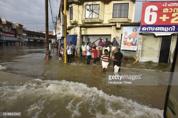A view of submerged market and houses due to floods at Panadala on August 18 2018 in district Pathanamthitta India The flooding described by the...